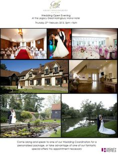 Legacy Great Hallingbury Manor @GHMhotel @Legacy_hotels We are holding a Wedding Open Evening next Thursday 27th February from 5pm until 9pm, why not pop along to see the venue! Our Wedding Team will be on hand to create personalised packages for you, or you could take advantage of one of our fabulous special offers! No appointment necessary! http://www.legacy-hotels.co.uk/legacy-greathallingbury/