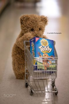 Teddy B went shopping and found some Teddy Grahams.