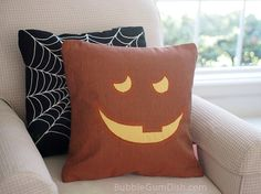 Jilly the Jack o Lantern Pumpkin Pillow Cover #Halloween by BubbleGumDish.com