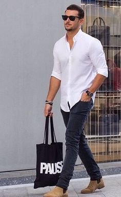 What To Wear With A White Shirt - Men's Outfit Ideas For Dressing With Style mens jeans 7 Ways To Wear A White Shirt - A Men's Style Guide [With Photos White Shirt Outfits, White Shirt Men, White Shirts For Men, White Shirt With Jeans, Mens White Jeans, Denim Shirt Men, Chinos Men Outfit, Look Fashion, Mens Fashion