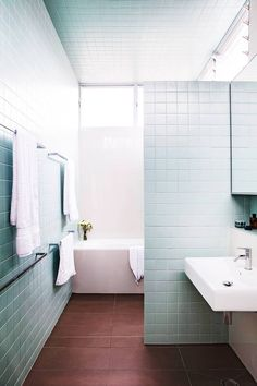 Tile is the one detail that singlehandedly transforms any bathroom. Here, 20 bathroom tile ideas to inform and inspire your next design project. Art Deco Bathroom, Bathroom Colors, Bathroom Wall, Washroom, Bathroom Ideas, Duck Egg Blue Bathroom, Brown Bathroom, Blue Bathrooms, Blue Walls