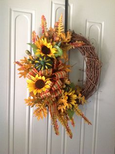Fall grapevine wreath thanksgiving by TammysFlowersandmore on Etsy, $55.00