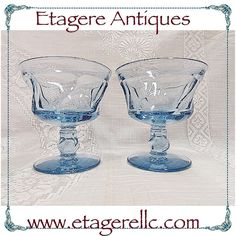 I used to hate all things blue but then I was introduced to blue glass.  #Fostoria #vintage #blue #glassware #jamestown #sherbet #stemware #gotvintage #etagereantiques #shopping #shopsmall #shoponline