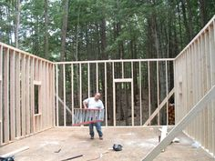 Diary of a cabin going up in NH Building A Small House, Go Up, Tiny Houses, Cabins, Workshop, Deck, Floor Plans, How To Plan, Outdoor Decor