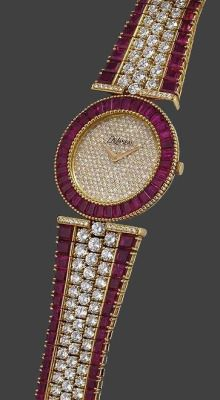 DeLaneau a fine and rare gold, diamond and ruby-set bracelet watch ruby jewelry
