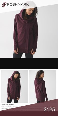 """Lululemon Wrap Up Jacket Excellent condition. Only worn a few times. Never washed. Beautiful plum color with thumb holes & long length. Jacket zippers up and has magnetic pieces that give the """"wrapped"""" look. Price FIRM! lululemon athletica Jackets & Coats"""