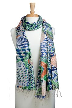 A & R Cashmere Gabrielle Screen Scarf in Royal Blue, Green and Tangerine