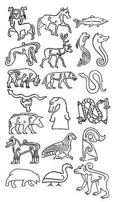 (Ideas for embroidery) Pictish stone animals. Celtic Symbols, Celtic Art, Celtic Dragon, Celtic Patterns, Celtic Designs, Medieval Embroidery, Celtic Mythology, Norse Vikings, Celtic Tattoos