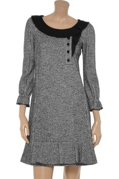 Houndstooth-print cotton and wool-blend dress by Sonia by Sonia Rykiel