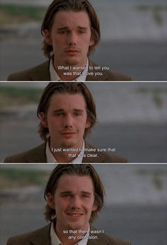 ― Reality Bites (1994) Troy:What I wanted to tell you was that I love you. I just wanted to make sure that that was clear,so that there wasn't any confusion.
