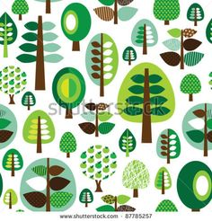 Seamless retro nature organic green leaf tree background pattern in vector by Maaike Boot, via ShutterStock