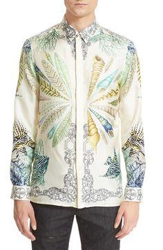 Versace Collection Trim Fit Sea Print Silk Shirt