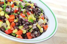 Black Bean Salad with Corn, Bell Pepper, Tomato & Avocado in a Fresh Garlic Lime Dressing #Recipe