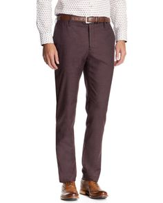 Slim fit brushed cotton chino - Purple   Trousers   Ted Baker UK
