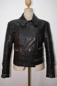 Vtg 1940s HORSEHIDE Leather Motorcycle Jacket German LUFTWAFFE Small