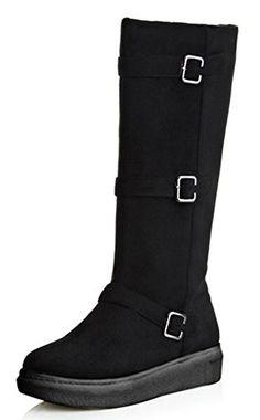 e43763e33786 IDIFU Womens Fashion Low Heels Hidden Three Straps Buckle Side Zipper Under Knee  High Boots Black