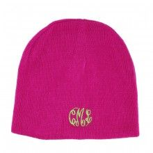 Monogrammed Soft Knit Beanie Cap $24 at www.skygrovepersonalizedgifts.com