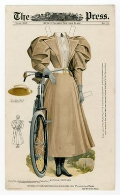 A Bicycle Costume for decent women, 1895 (complete with straw hat, because if you kept to a ladylike pace on a nicely paved boulevard, you'd have no need of goggles.)