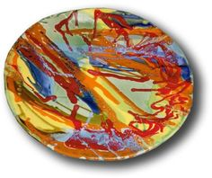 Circular Wall Hanging Plaque Abstract Colors 3″x 20″ B38
