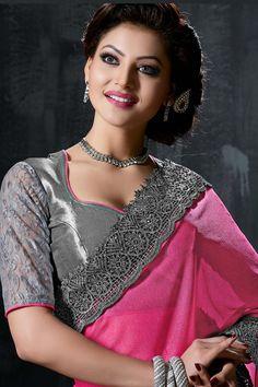 Urvashi Rautela Grey-Pink Designer Saree-9011