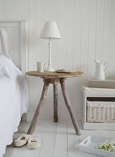 Driftwood bedside table. Coastal style bedroom furniture. New England, Scandi, Danish and French style bedroom furniture from The White Lighthouse
