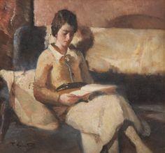 Donna che legge (Woman reading). Francesco Galante (Italian, 1884-1972). Oil on panel.