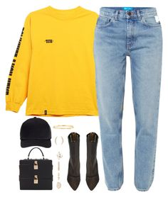 """Long Sleeve Yellow Tee"" by oh-aurora ❤ liked on Polyvore featuring HUF, M.i.h Jeans, Dolce&Gabbana, Miss Selfridge, adidas Originals, Valentino and Mimi So"