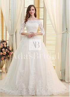 Romantic Tulle Off-the-shoulder Neckline Ball Gown Wedding Dresses With Beaded Sequin Lace Appliques