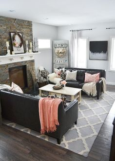 Living Room Decor With Black Leather Sofa lighten up a black leather couch with bright pillows and a throw