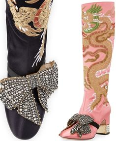 Gucci 'Candy Dragon' Embroidered Block-Heel Knee Boots