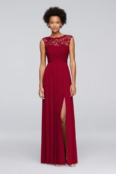 8b9ff94e88 10639812 - Long Bridesmaid Dress with Lace Bodice Davids Bridal Bridesmaid  Dresses