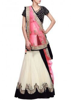 Cream lehenga featuring with kundan embroidery only on Kalki