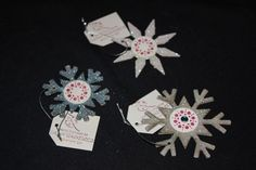 Set of 3 Chipboard Snowflake Ornaments by ladystamp on Etsy