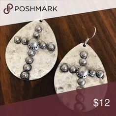 Silver Cross Medallion Earrings Brand new silver cross earrings with pearl accent bead. Boho, gypsy, tribal, Aztec, Navajo, southern, southwest, western, rodeo, cowgirl style. Jewelry Earrings
