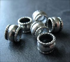 3 Solid Sterling Silver Ribbed Slider Tube Beads - oxidized and polished - 8mm X 5.5mm - large holed - 5mm hole  $8.20
