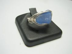 Wire Wrapped and Woven Sea Glass Ring -Cornflower Blue-R4