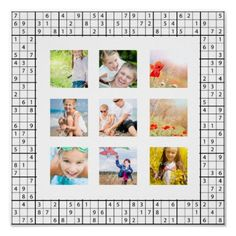 Sudoku Pattern Photo Collage Poster more great personalized sudoku themed gifts at www.mouseandmarker.com