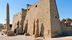 The Temple of Luxor is located on the east bank of the Nile River in the city once known as Thebes.