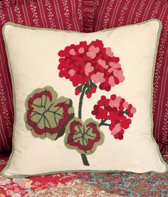 Hooked Geranium Pillow