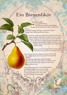 A pear liqueur - Likör & Co - Wine Cocktails, Cocktail Drinks, Pear Liqueur, Herbs Indoors, Growing Herbs, Medicinal Herbs, Nutrition Education, Liquor, Smoothies