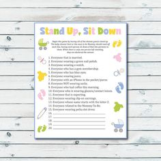 Stand Up Sit Down Baby Shower Game, Printable Stand Up Sit Down Game, Baby Shower Games Printable, Gender Neutral Printable Shower Activity - Baby Shower Decors Baby Shower Host, Baby Shower Games Unique, Baby Shower Diapers, Shower Party, Baby Shower Parties, Baby Shower Themes, Baby Boy Shower, Baby Shower Decorations, Baby Shower Gifts