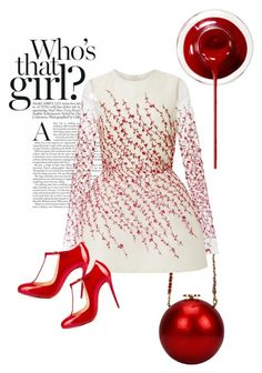 """Who's that girl ?"" by pinkcrema on Polyvore featuring moda, Monique Lhuillier ve Christian Louboutin"