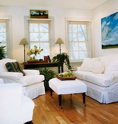 carriage house after, natural light and slipcovers