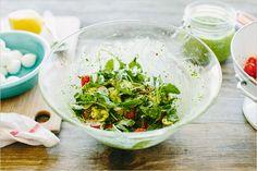 arugula caprese salad with kale pesto . sprouted kitchen