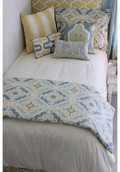 Spa Blue & Buttercup Yellow Ikat Designer Teen & Dorm Bed in a Bag