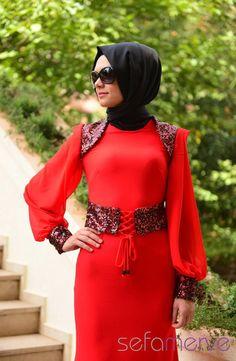 Sefamerve Abiye Elbiseler PDY 3722-05 Kırmızı Siyah