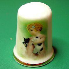English porcelain thimble Bessie Pease by LeClosdesLavandes, $4.50