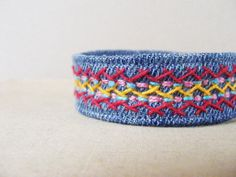 Denim bracelet hand embroidery