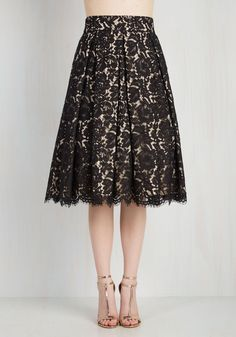Left In a Spin Skirt in Black. If youre ready for a style thatll leave you whirling with wonder, this black midi skirt is waiting for you! #black #modcloth