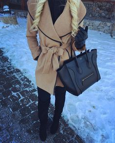 Beige coat | over the knee boots | Celine | ootd | snow outfit